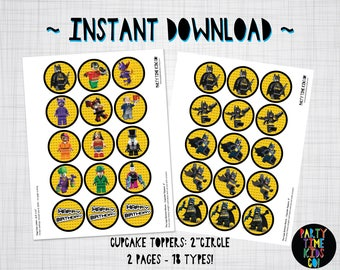 "The Batman Lego Movie Cupcake Toppers Birthday Party Gift Labels 2"" Printables INSTANT DOWNLOAD"