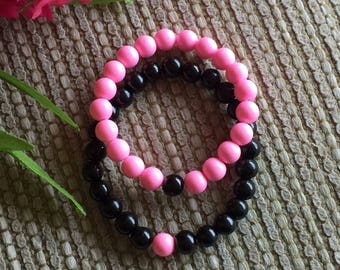 Father and Daughter Bracelets Black and Pink, love in pink