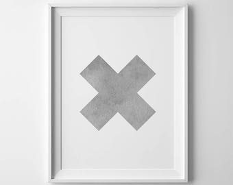 Vintage Gray Cross Print, Swiss X Abstract Poster, Affiche Scandinave, Large Contemporary Wall Art, Bedroom Wall Decor, Digital Download