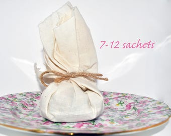 Dried Lavender Potpourri Muslin Sachet / Baby & Bridal Shower Favors / Wedding Favors w/ Organic German Chamomile and Rosehips, Pink Roses