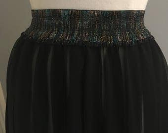 Vintage sheer, pleated skirt with glittery waistband