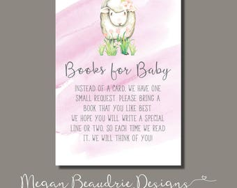 Baby Shower Book Request Card | Little Lamb
