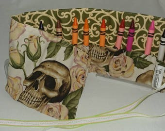 Skull and Flowers Crayon Roll x12