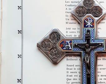 Stunning roman silver cross with micro-mosaic