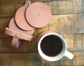 Natural Leather Coasters - Set of 4