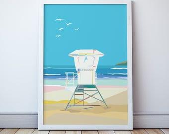 Beach Surf Lifesaving Tower Print