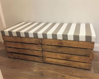 Double Length Wooden Apple Crate - Ottoman - Storage - Grey & White Stripes - Rustic Crates
