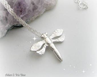 Large Dragon Fly Necklace Sterling Silver