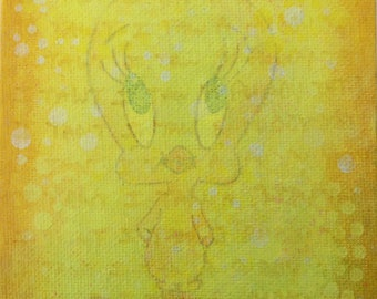 Tweety is sweet mixed media painting on canvas board