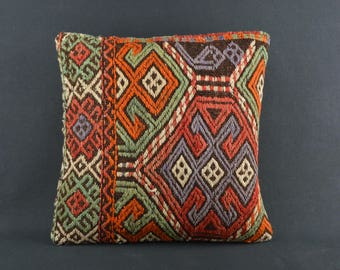 40x40 Cicim Kilim Pillow Colorful Rustic Home Decor Turkish Kilim Pillow Home Decor Kilim Pillow Decorative Kilim Pillow