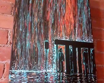 Waiting For The Bus In The Rain -  *MADE TO ORDER* painting