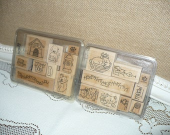 Stampin Up Meow Meow 1998 and Bow Wow 1997 - Cats and Dogs -  Discontinued