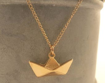 Origami boat, paper boat necklace, nautical necklace, origami paper boat necklace, sea necklace