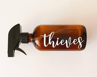 16 oz Spray Bottle with Label | Glass Spray Bottle | Amber