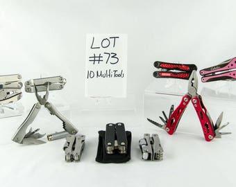 10 Multi Tool Lot # 73 Folding Knives Cabelas Craftsman + More