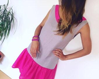 Gray linen dress, pink linen dress, women linen dress, summer linen dress, soft linen dress, linen ruffle dress, birthday dress, party dress