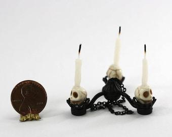 Black Wrought Iron Look Artisan Skull Chandelier for Halloween