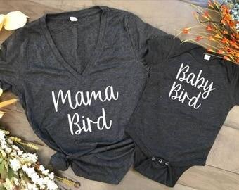 """mama bird baby bird matching t shirt """"baby bird"""" shirt, mothers day, birthday, baby shower, baby onsies, child's t shirt"""