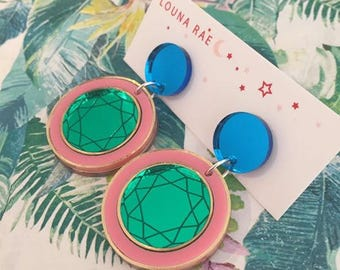 You're a Gem Dangle Earrings - Round Pink/Green/M Blue