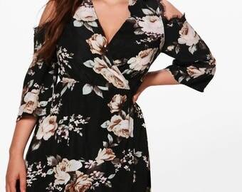 Frill Wrap Floral Mini Dress - Floral Plunge Frill Tea Dress