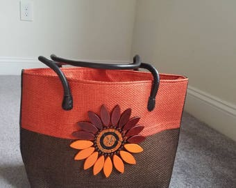 Hand crafted top handle bag