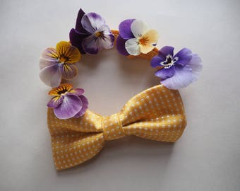 Bow tie for baby, toddler or child: adjustable yellow polka dot, photo prop, birthday, gift, baby shower wedding, party, page boy, formal,