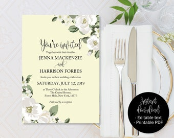 Ivory Wedding Invitation, Ivory Green Wedding Invite Printable, Editable Wedding Invite, Wedding Template Download, Invitations Wedding PDF