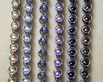 Handmade Captured Bead Stainless Steel Chainmaille Bracelet