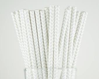 Light Grey Chevron Paper Straws - Mason Jar Straws - Party Decor Supply - Cake Pop Sticks - Party Favor