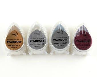 Set of 4 pcs Stardust Multipurpose Ink Pad - Fingerprint Wedding Tree Ink Pad - Glitter Ink Pads - Fingerprint Inks