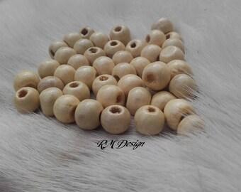 Round wooden beads - ref PB50C1
