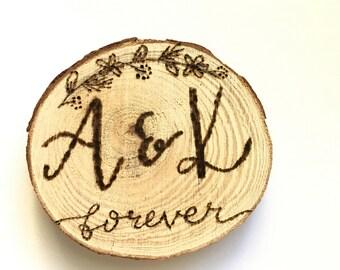 Customizable Wood Slice Fridge Magnets/Ornaments, Hand Lettered, Wood Burned