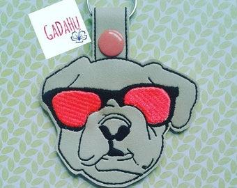 Bulldog with sunglasses Key Fob Snap Tab Embroidery Design 4X4 size. Bonus!!! applique sunglasses file included!!!