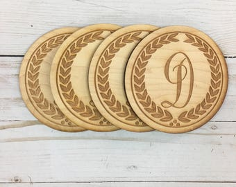 CUSTOM *Your Initials* Laser Engraved Wood Coasters
