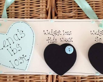 Weight loss plaque sign personalised slimming weight loss handmade sign diet record wooden plaque new