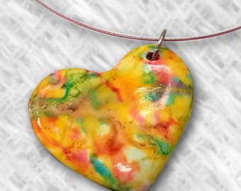 Necklace Heart Polymer Clay Pendant