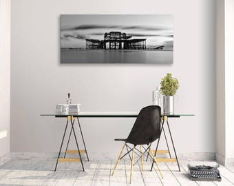 Brighton West Pier Black And White Seascape Panorama Canvas Wall Art Home Decor