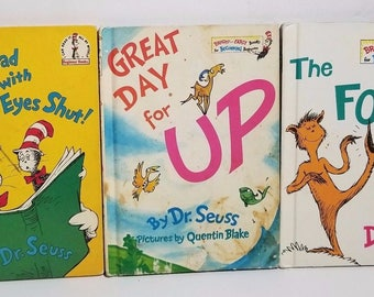 Vintage Dr Seuss Books Lot Set of 3 60s 70s Foot Book Great Day for Up