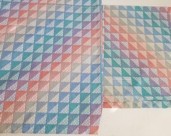 Vintage Lady Pepperell King Flat Sheet King Pillowcases Set Green Blue Geometric