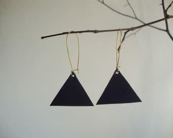 Earrings leather Navy blue triangle geometric