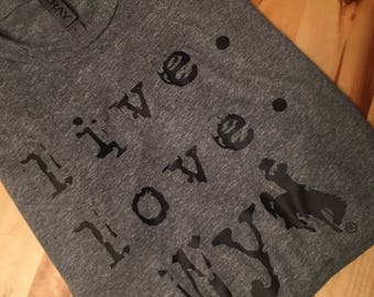 Ouray Sports Heather Gray Live Love Wyo Tee