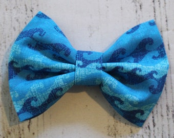 Waves Fabric Bow, Waves Hair Clip, Nautical Hair Bow, Nautical Hair Clip