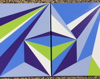SALE, PRICE REDUCED!! Abstract Acrylic Diptych Painting 'Kaleidoscope Dreams'