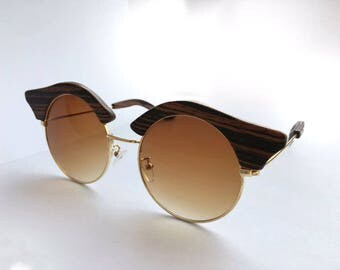 Owl-style wooden Sunglasses