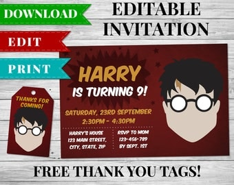 Harry Potter Invitation, Harry Potter Invite, Harry Potter Birthday Party Invitation, Harry Potter Thank You Tag, Harry Potter Printable