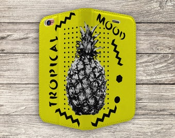 Fun Tropical Pineapple Print Full Flip Case For iPhone 5, 5S, SE (S6456)