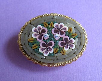 Vintage Venetian Mosaic  Pin - Sage Green with Purple Flowers