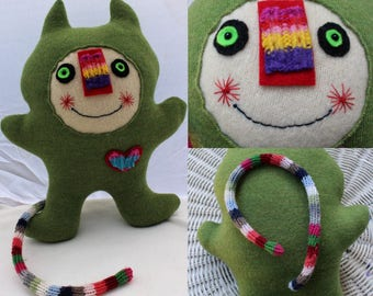 Shaloun - wool handmade stuffed toy from recycled sweater