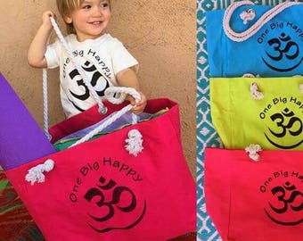 Large OM tote bag, Canvas  nylon lined tote bag, soft rope handle, hand screened, assorted colors, yoga bag, market tote bag, yoga bag