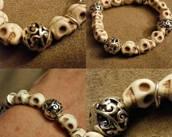 Silver Plated Beads w/Natural Skullbeads and Silver  accents